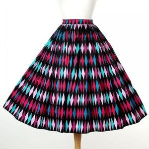 Pinup Couture Black and Teal Harlequin 1950s Skirt